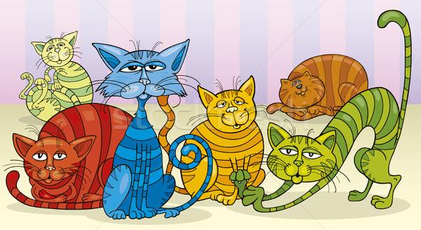 color cats group Stock photo © izakowski