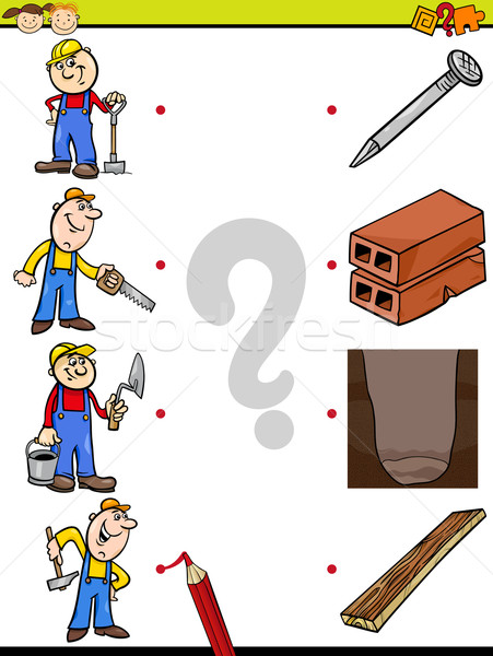 Foto stock: Combinar · elementos · educação · jogo · desenho · animado · ilustração