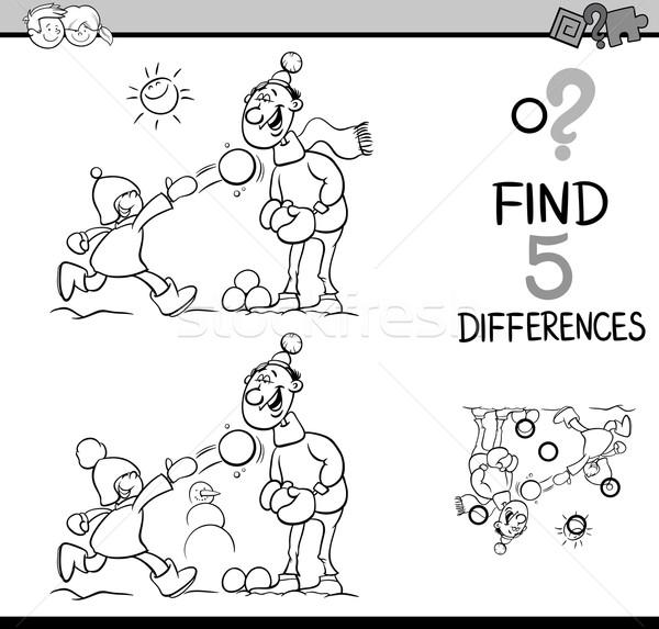 Compito differenze libro da colorare bianco nero cartoon illustrazione Foto d'archivio © izakowski