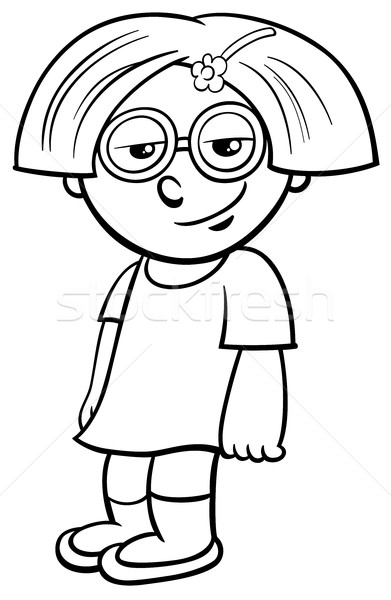 Stock photo: little girl coloring page