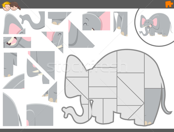 Spel olifant cartoon illustratie onderwijs Stockfoto © izakowski