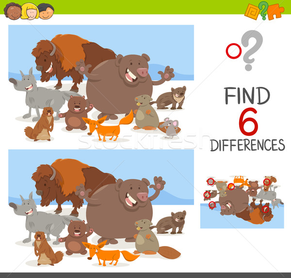 Place différences jeu animaux cartoon illustration Photo stock © izakowski