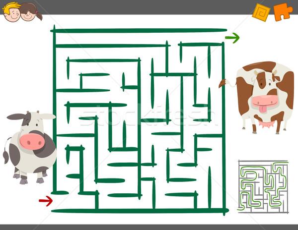 Labirinto tempo libero gioco vacche cartoon illustrazione Foto d'archivio © izakowski
