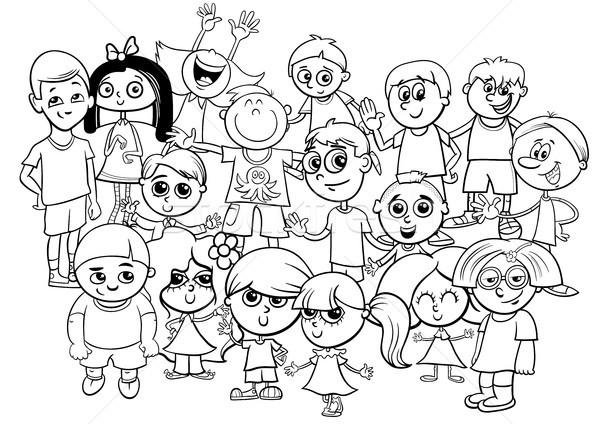 Crianças · Grupo · Livro · Para · Colorir · Preto · E