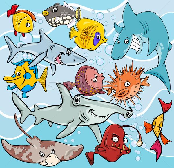 fish cartoon animal characters group Stock photo © izakowski