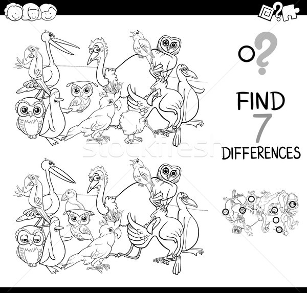 find differences with birds coloring book Stock photo © izakowski
