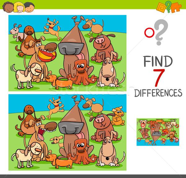 Vinden verschillen spel hond cartoon Stockfoto © izakowski