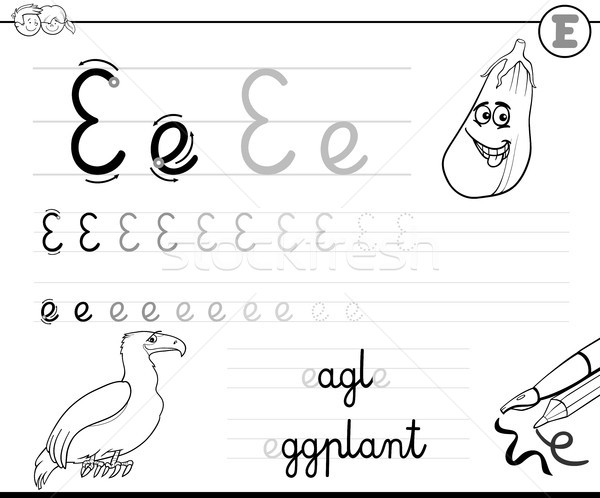 learn to write letter E workbook for kids Stock photo © izakowski