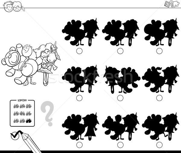 Schaduwen kinderen speelgoed kleurboek zwart wit cartoon Stockfoto © izakowski