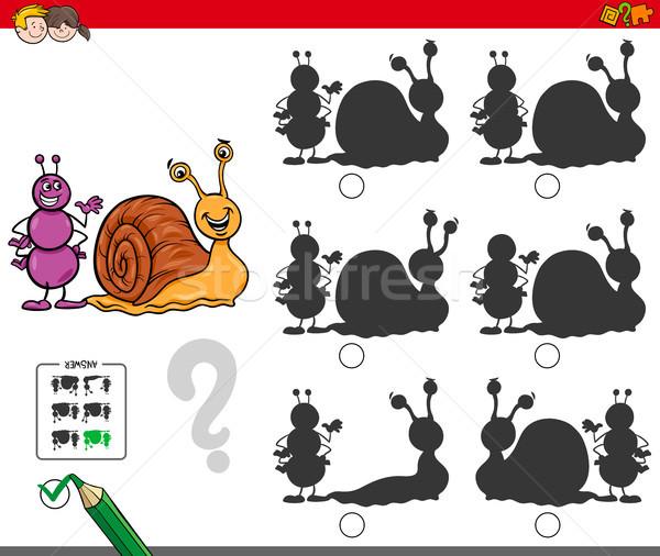 educational shadow game with ant and snail Stock photo © izakowski