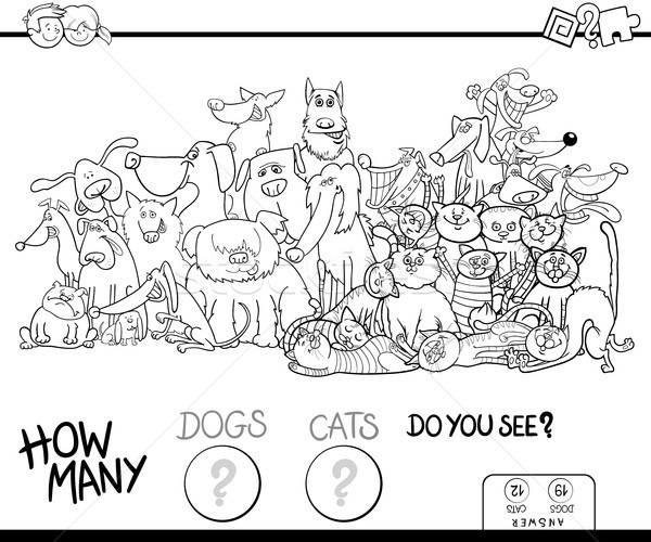 how many dogs and cats game color book Stock photo © izakowski