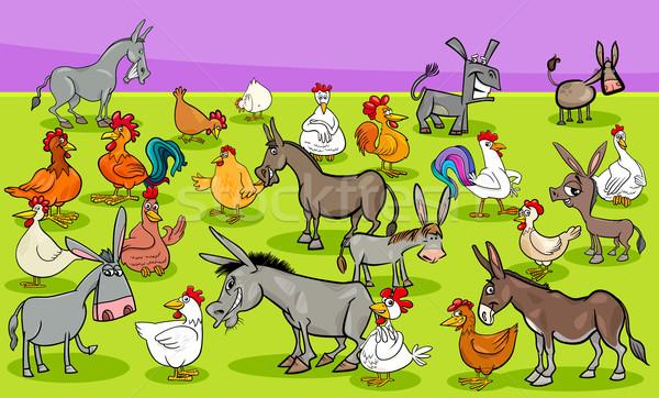 Haszonállat betűk csoport rajz illusztráció vicces Stock fotó © izakowski