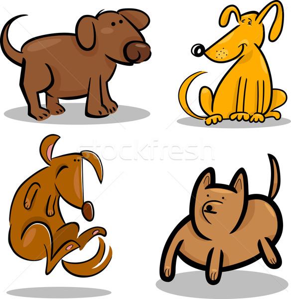 Foto stock: Bonitinho · desenho · animado · cães · filhotes · de · cachorro · conjunto · ilustração