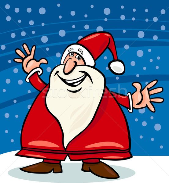 santa claus and snow cartoon illustration Stock photo © izakowski
