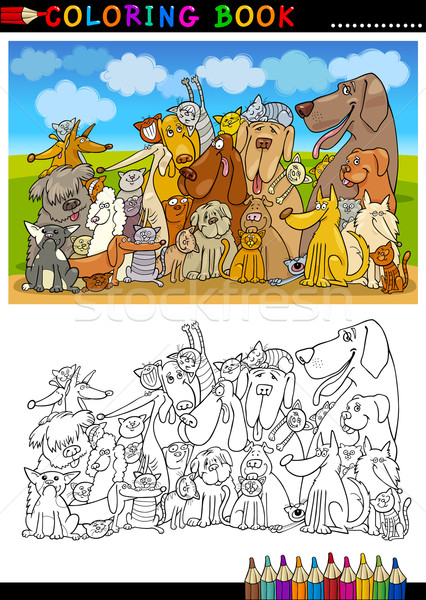 Cartoon Dogs for Coloring Book or Page Stock photo © izakowski