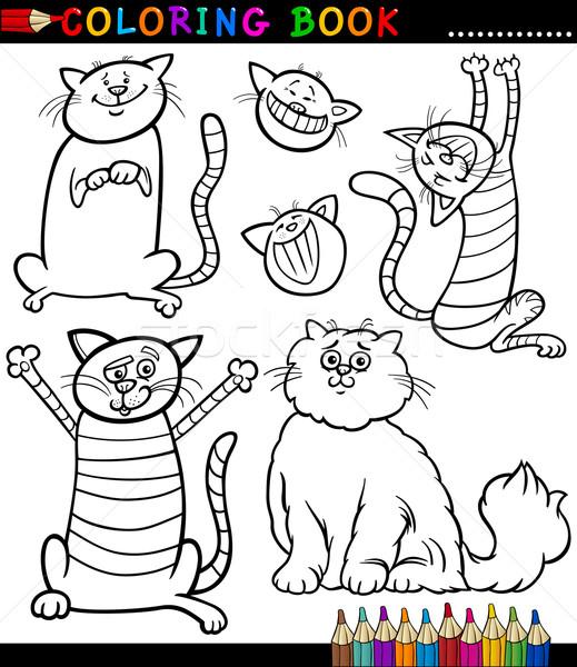 Karikatur Kediler Kedi Yavrulari Sayfa Boyama Kitabi