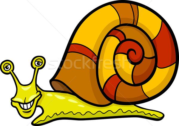 snail mollusk cartoon illustration Stock photo © izakowski