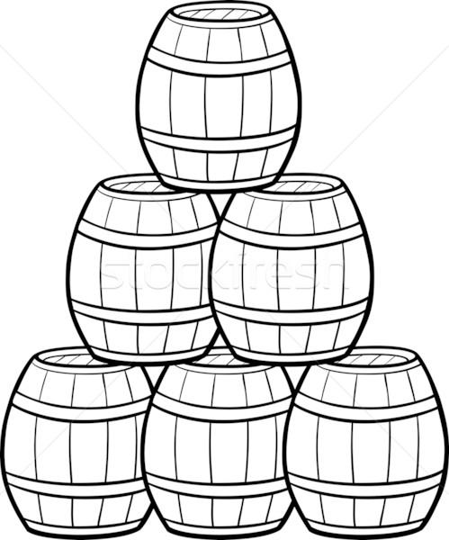 Stockfoto: Hoop · cartoon · illustratie · zwart · wit · houten · wijn