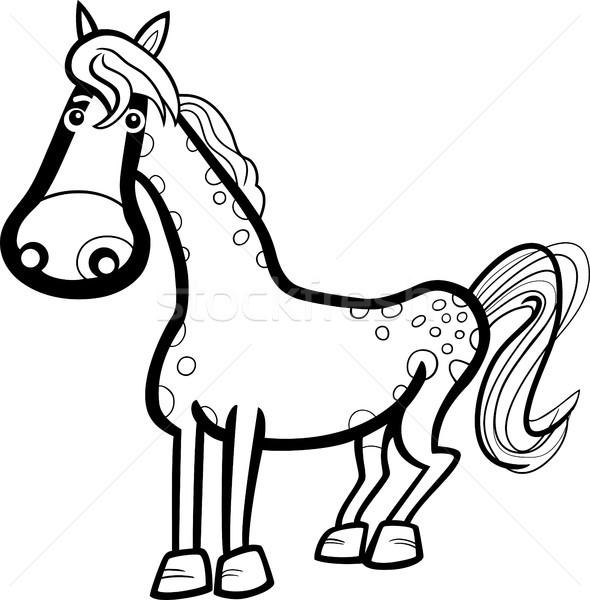 Ló haszonállat rajz feketefehér illusztráció aranyos Stock fotó © izakowski