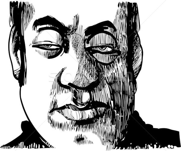 Bölcs férfi rajz illusztráció arc könyv Stock fotó © izakowski