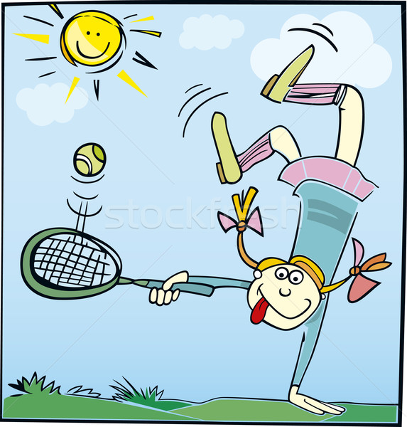 ストックフォト: 面白い · 女の子 · 漫画 · 実例 · 演奏 · テニス