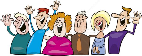 Grupo pessoas felizes desenho animado cara homem feliz Foto stock © izakowski