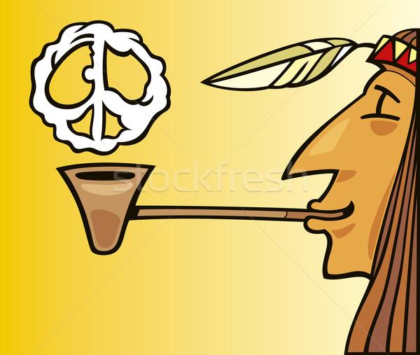 Indian smoking pipe of peace Stock photo © izakowski