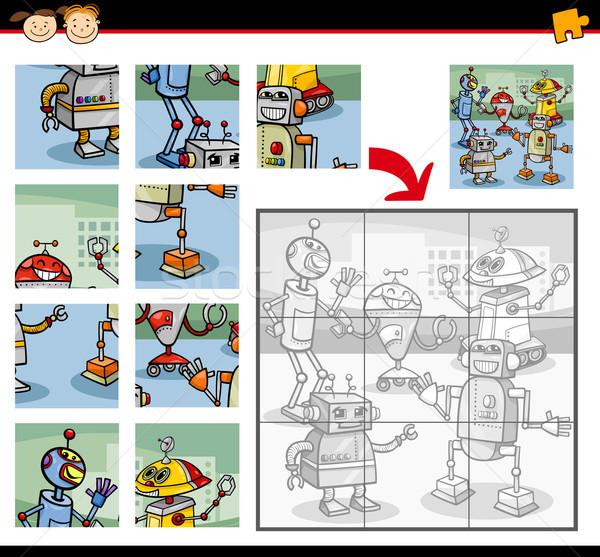 Robotok kirakós játék játék rajz illusztráció oktatás Stock fotó © izakowski