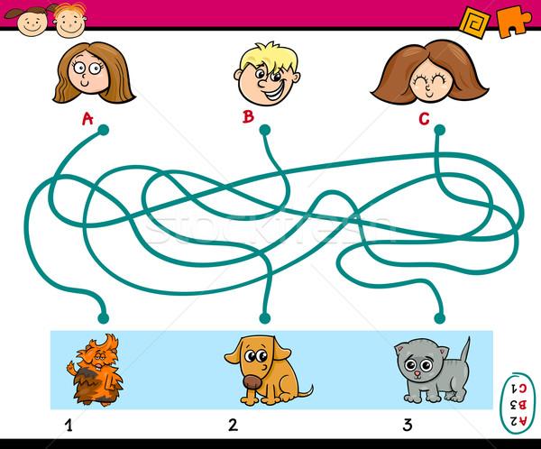 Labirinto tarefa crianças desenho animado ilustração educação Foto stock © izakowski
