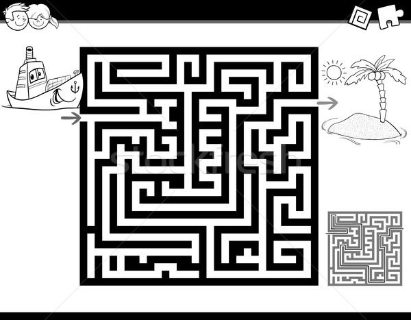 Labirinto labirinto pagina bianco nero cartoon illustrazione Foto d'archivio © izakowski