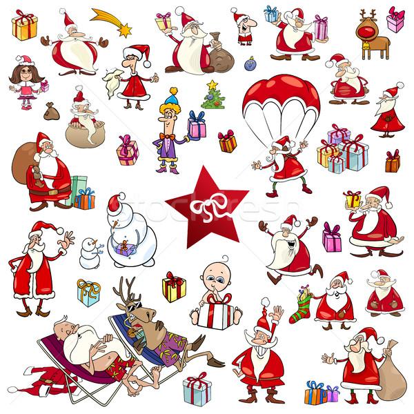 Foto stock: Navidad · establecer · Cartoon · ilustración
