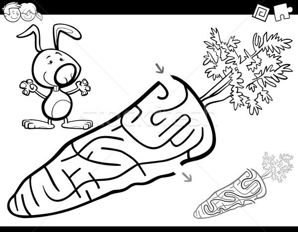 Labirent Etkinlik Sayfa Siyah Beyaz Karikatur Ornek
