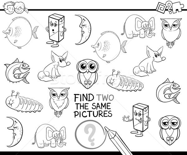 find the same pictures coloring page Stock photo © izakowski