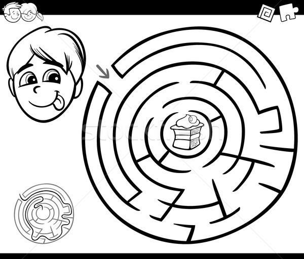 Labirinto ragazzo torta bianco nero cartoon illustrazione Foto d'archivio © izakowski