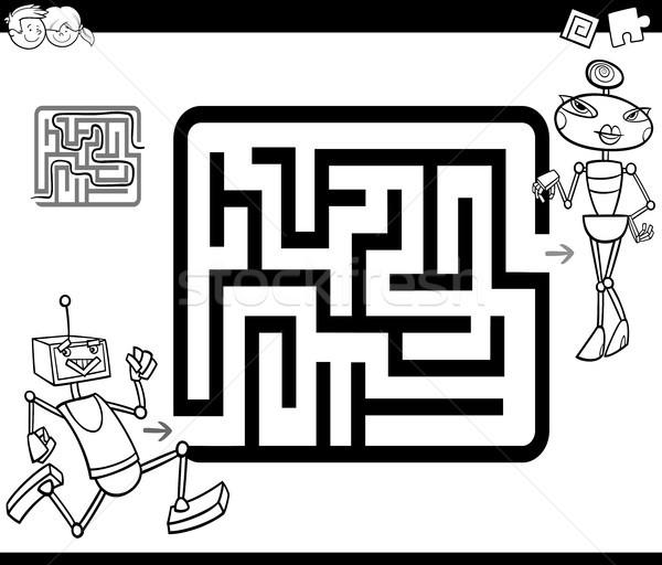 лабиринт страница черно белые Cartoon иллюстрация Сток-фото © izakowski
