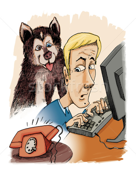 Husky собака владелец телефон призыв иллюстрация Сток-фото © izakowski