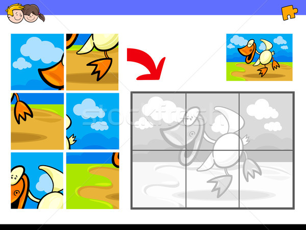 jigsaw puzzles with duck bird farm animal Stock photo © izakowski