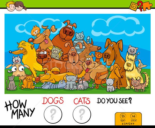 how many cats and dogs activity game Stock photo © izakowski