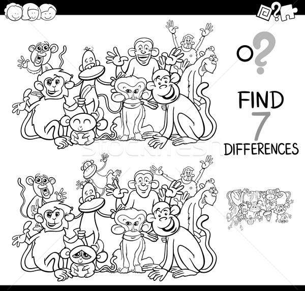 Verschillen spel apen kleurboek zwart wit cartoon Stockfoto © izakowski