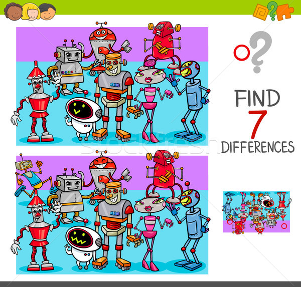 find differences with robot characters Stock photo © izakowski