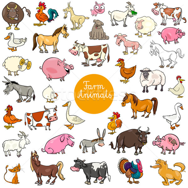 cartoon farm animal characters big set Stock photo © izakowski