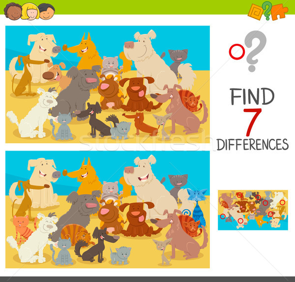 find differences game with dogs and cats Stock photo © izakowski