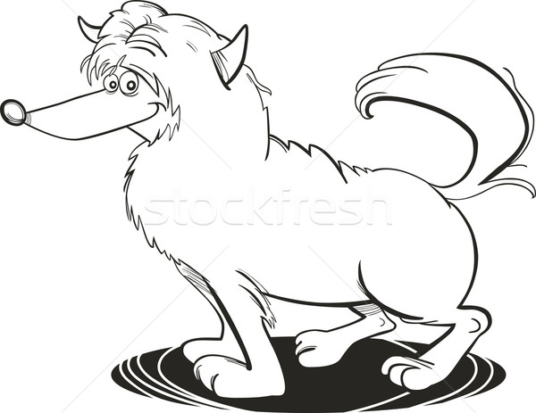 Kócos kutya kifestőkönyv illusztráció fekete rajz Stock fotó © izakowski