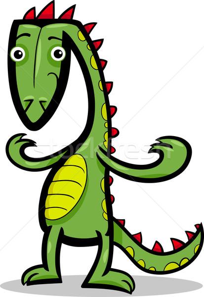 漫画 実例 トカゲ 恐竜 面白い 緑 ストックフォト © izakowski
