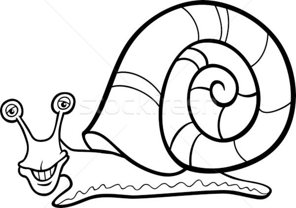 snail mollusk cartoon for coloring book Stock photo © izakowski