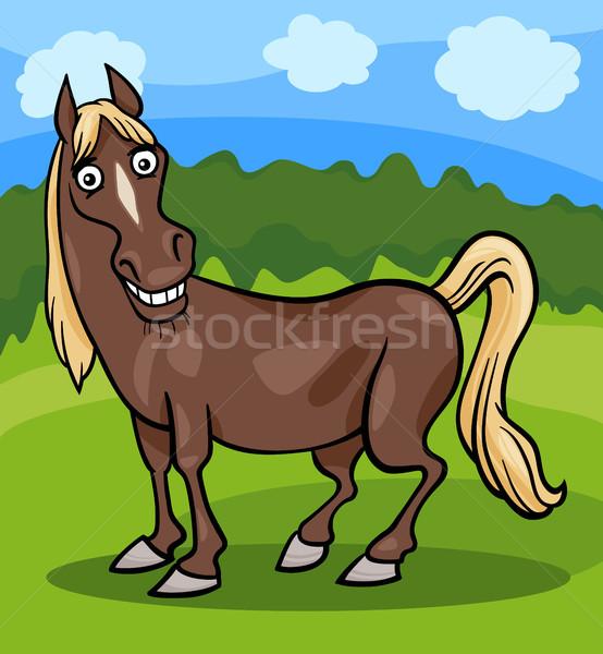 Ló haszonállat rajz illusztráció vicces képregény Stock fotó © izakowski