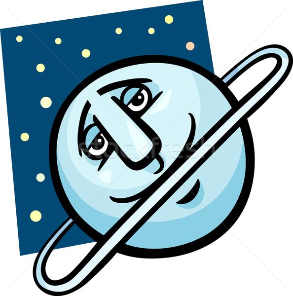 funny uranus planet cartoon illustration Stock photo © izakowski