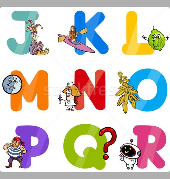 Educação desenho animado alfabeto cartas crianças ilustração Foto stock © izakowski