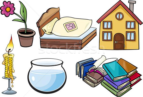 Huishouden objecten cartoon illustratie ingesteld dag Stockfoto © izakowski