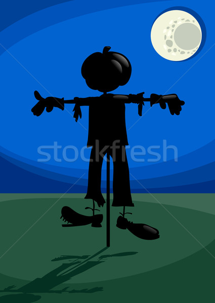 scarecrow at night cartoon illustration Stock photo © izakowski